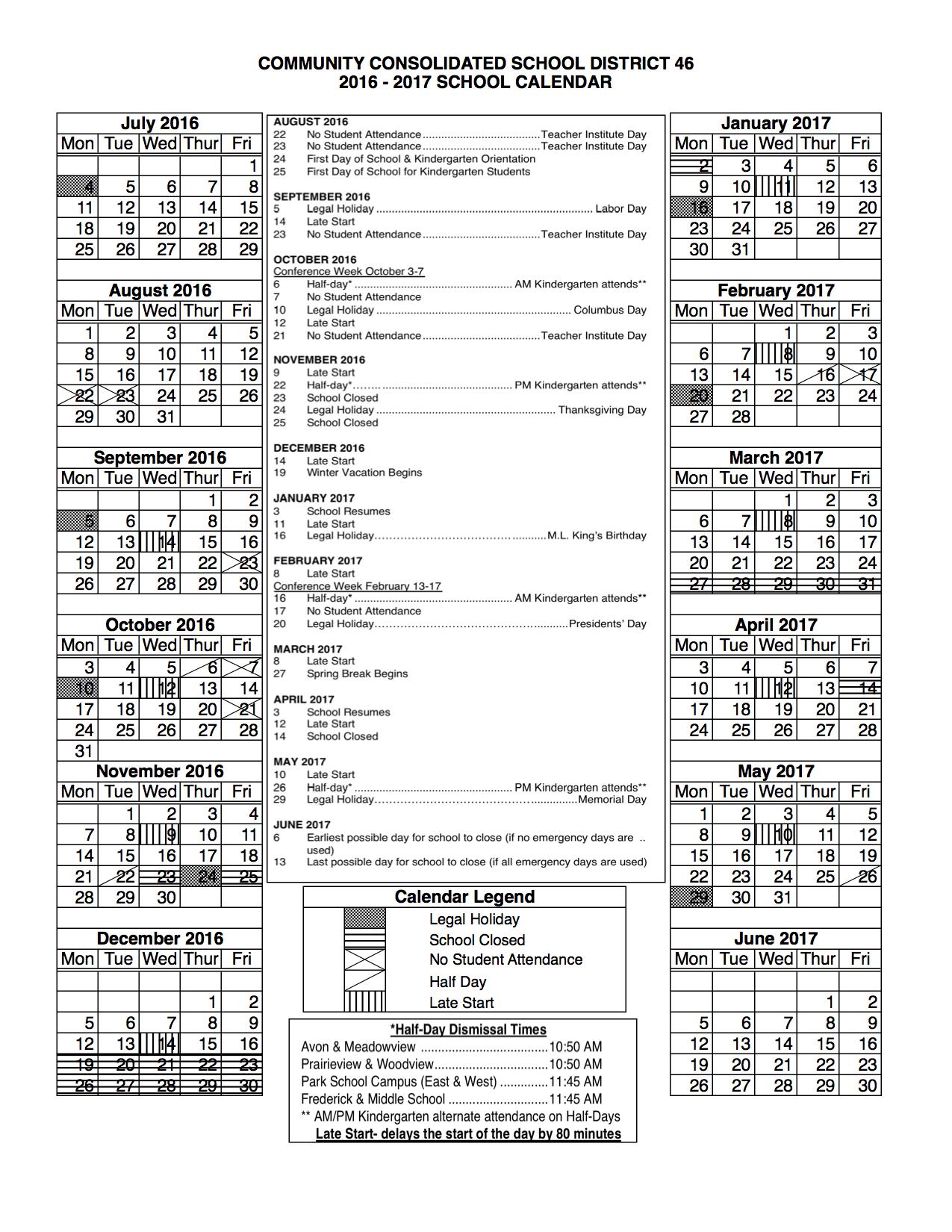 fy17 calendar